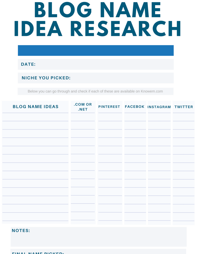 Blog Name Idea Research Sheet