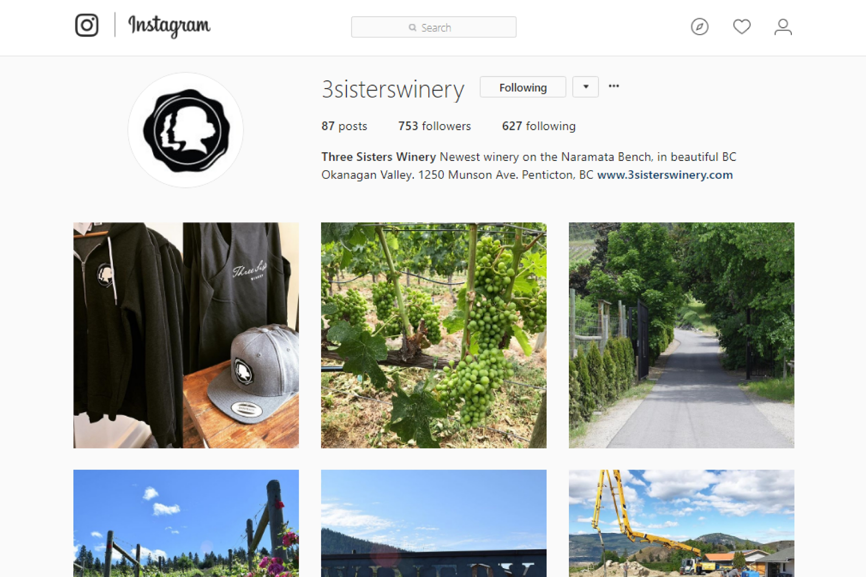 Social Media Management – For Three Sisters Winery